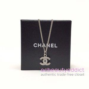 NIB Chanel Classic Silver Crystal CC Logo Necklace